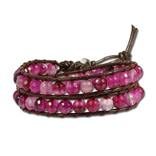 SilberDream Leder Armband Maserung Damen Frauen Armschmuck braun pink D2LAN003 EIN schönes Geschenk zu Weihnachten, Geburtstag, Valentinstag für die Frau