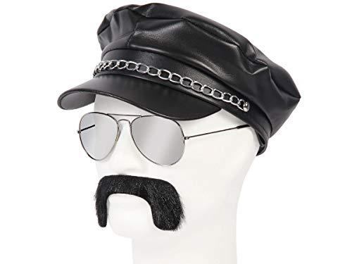 Alsino 80er Jahre Rocker Outfit - 3-teilig (Kv-146) Greek Cap Schwarz Plus Schnurrbart und Pilotenbrille