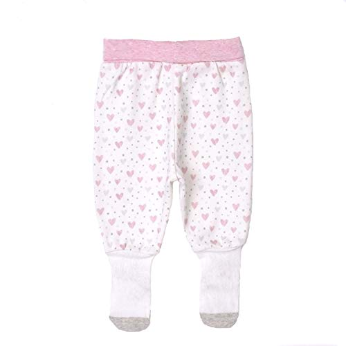 Sevira Kids - Pantalon bébé à pieds en coton bio, GIRLY