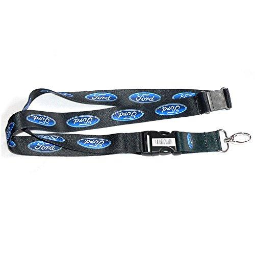 Ford Blue Oval Logo Lanyard w/ Key Chain Clip - Black