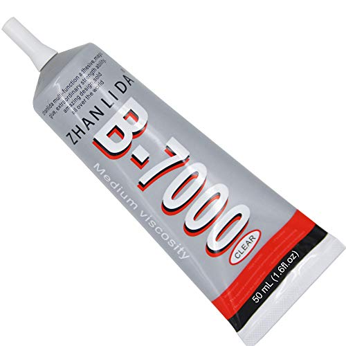 MMOBIEL B-7000 50ML Multipurpose High Performance Industrial Super Glue Semi Fluid Transparent Adhesive 50 ml 1,68 fl.oz Incl. Precision Tips for Clean Working.