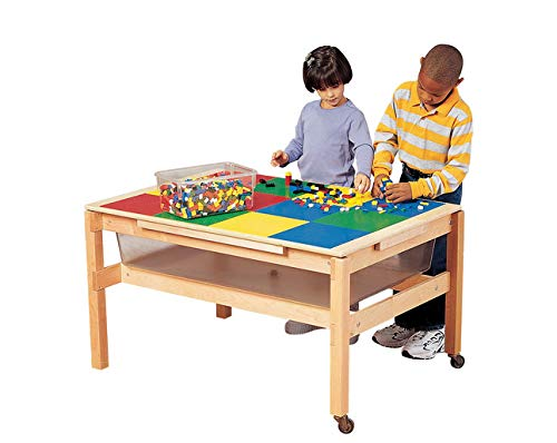 Childcraft 341859 Standard Sand and Water Table with Grid Top, 0.75' Height, 30.13' Width, 42.38' Length, Natural Wood