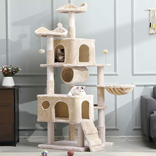 MSmask Kratzbaum groß, 175cm Kletterbaum für große Katzen, XXL Katzenbaum, Stabiler Kratzbaum Grosse Katzen mit Höhlen Sisal-Kratzstangen (Beige)