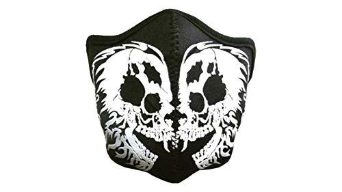 kenai dark Motorrad Neopren Maske 2 Schädel mit Feinstaubfilter, Biker Maske double Skull,Winddicht Staubdicht