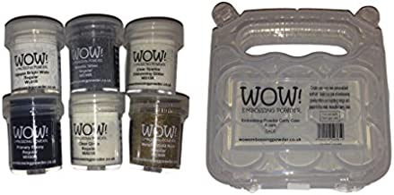 WOW! Embossing Powder 6-Pack Starter Kit and Clear Carrying Case - Bundle 7 Items