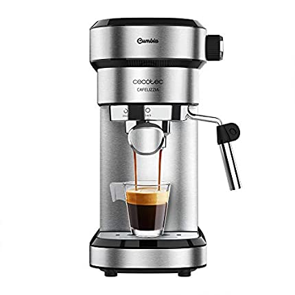 Cecotec Cafetera Express Cafelizzia 790 Steel para espressos y cappuccinos, Brazo portafiltros con Doble Salida y Dos filtros, 20 Bares de Presión, Depósito extraíble de 1,2L, 1350W, Acero