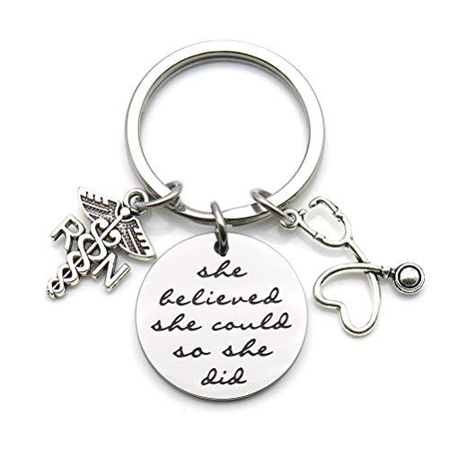 Nurse Gift Nurse Keychain Nurse Graduation Gift RN Gift She Believed She Could So She Did Inspirational Keychain (RN)