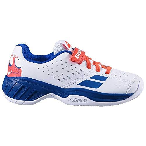 BABOLAT Pulsion All Court Kid, Zapatillas de Tenis, White/Dazzling Blue, 28 EU