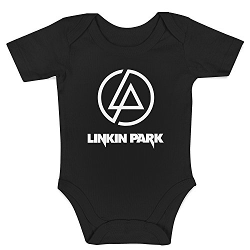 LaMAGLIERIA Body Bebè Linkin Park - Rock Metal Baby Body, 0-3 MESI, Negro