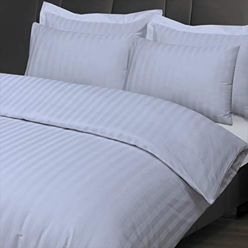 Linen Zone - 300 Thread Satin Stripe Duvet Cover Set - 100% Egyptian Cotton - Luxury Hotel Quality (White, Double)