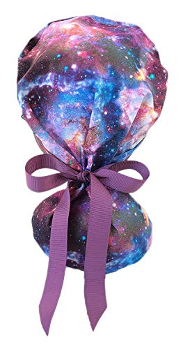 EYIP Ponytail Cap, Head Cover, Working Caps for Women with Long Hair, Purple Galaxy and Purple Ribbon