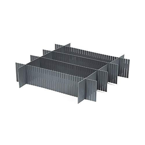 COMPACTOR 3 Sets mit 6 Schubladenteilern, Für Unterwäsche und Accessoires, Längenverstellbar, Polypropylen, Grau, 44 x 10 cm, RAN9873