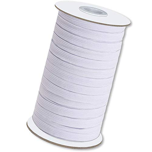 Elastic String for Masks,3/8 Inch 50 Yard White Super Soft Ear Band Loop,High Wovem Elastic,Knitted Elastic Cord for Crafts DIY Masks Sewing,Handmade String Tie Rope ,Spool Roll, Stretch…