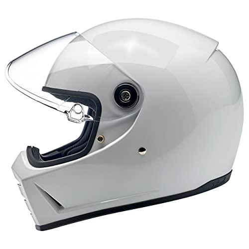 Biltwell Lane divisor sólido Full-Face casco de moto, color blanco brillante