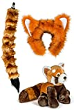 Wildlife Tree Stuffed Plush Red Panda Ears Headband and Tail Set with Baby Plush Toy Red Panda Bundle for Pretend Play Animals Dress Up