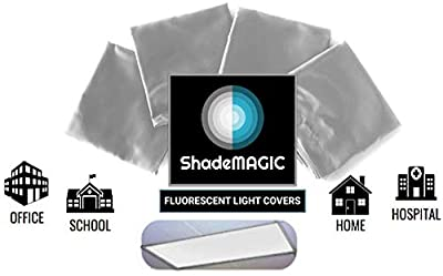 ShadeMAGIC Fluorescent Light Covers for Classroom or Office - Light Filter; Eliminate Harsh Glare That Causing Eyestrain and Headache Strain. Office & Classroom Decorations. Light Diffusers