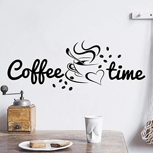 Coffee TIME Wandtattoo Sticker Aufkleber Kaffeezeit Kaffee Zeit (50cm (B) x 18cm (H), Schwarz)