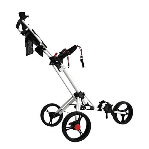 SYue Golf Trolley Golf Push Carts Faltbarer 3-Rad Golf Trolley Manueller Push/Pull Golf Cart mit Schirmständer Scorecard und Getränkehalter Aluminium Golf Cart