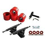 FITYLE Deluxe Rullo Ruota di Skateboard Camion di Ricambio Longboard Skate Board Chiave Multi-Strumenti di Installazione di Componenti - Black Red