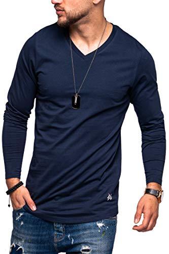 JACK & JONES Herren Langarmshirt Infinity Longshirt V-Neck T-Shirt Casual Basic (L, Navy Blazer)