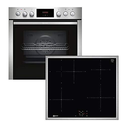Neff XE4I Backofen-Kochfeld-Kombination / Einbau / 4 Heizelemente / 66 cm / Edelstahl/Schwarz / Klapptür / Topferkennung