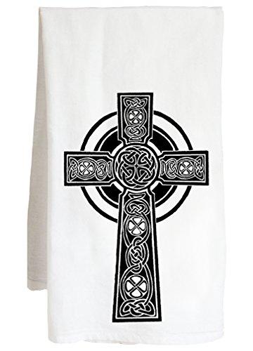 Live Nice Celtic Cross - Scottish Irish Catholic Faith - Farm Flour Sack Kitchen Tea Towel