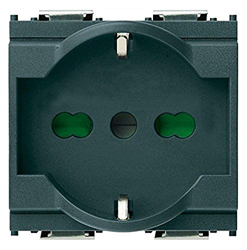 Vimar 0R16211 Idea Presa da incasso, con protezione bambini sicuri SICURY 2P+T 16 A 250 V~ universale, Bpresa multistandard, standard italiano P40, 2 moduli
