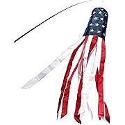 Anley 40 Zoll Amerikanische US-Flagge Windsack, Stars & Stripes USA Patriotische Dekorationen - Gestickte Sterne und lichtecht - 3,3 Füße