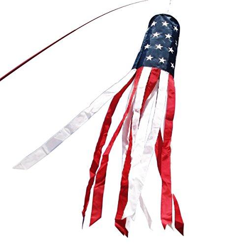 ANLEY Windsock, Estrelas & Listras de 60 polegadas da Bandeira Americana dos EUA Decorações Patrióticas - Estrelas Bordadas e Resistente ao Desbotamento - 5 Pés