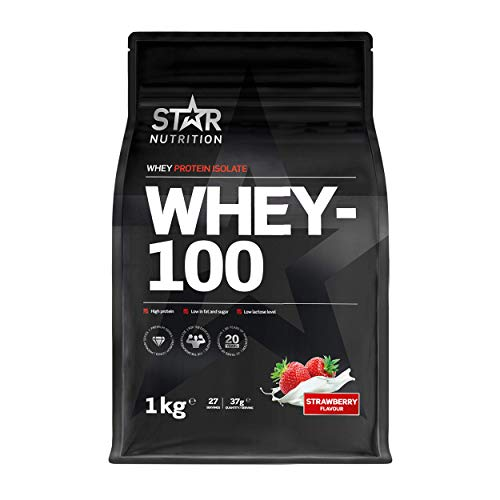 Star Nutrition | Whey 100 | Pure Isolated Diet Whey Protein Powder with High Protein & No Added Sugar | Protein Powders for Perfect Protein Shakes | Strawberry Flavor | 1Kg