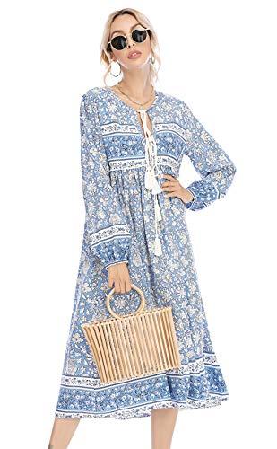 R.Vivimos Women's Long Sleeve Floral Print Retro V Neck Tassel Bohemian Midi Dresses (Large, Light Blue)