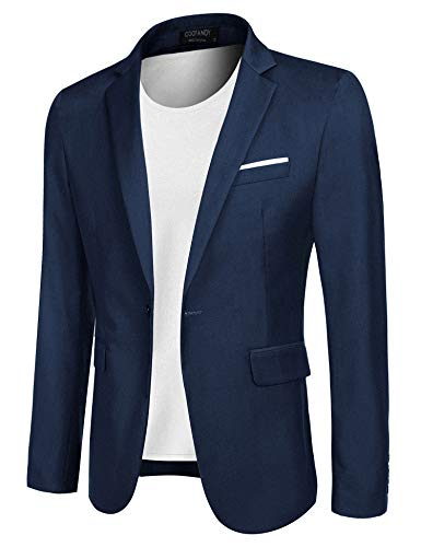 COOFANDY Men's Casual Blazer Jacket Slim Fit Sport Coats Lightweight One Button Suit Jacket (Blue, Medium)