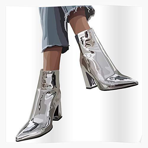 Coolboy Shoes Boots Metallic Fashion OOTD Kotd Instagram Jeans Das eindrucksvollste und stilvollste Poster für Innendekoration, das derzeit erhältlich ist