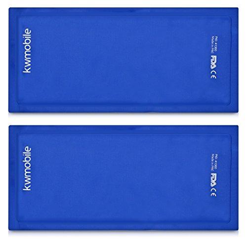 kwmobile 2x Compresa de gel frío y calor - Juego universal reutilizable - Pads de gel frío y caliente - Bandas de 28 x 13 x 1 CM - Bolsitas en azul