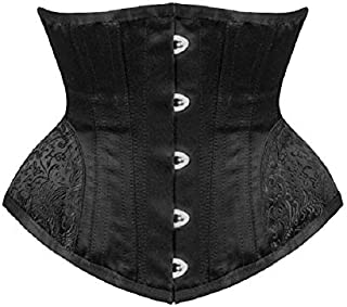 Corsets Waist Trainer Gothic Underbust Corset and Waist Steampunk Bustiers Top Workout Shape Body Sexy Lingerie Slimming Belt Fat Burner (Color : Black, Size : XXS)