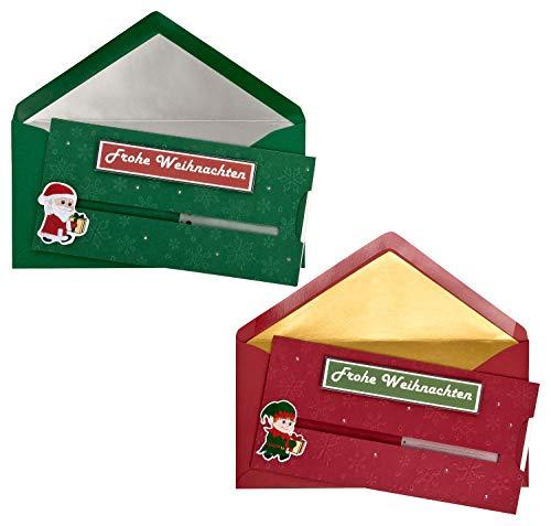 Tarjetas de Navidad con sobres multicolor – Juego de 2 en rojo...