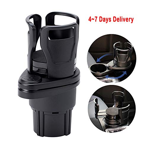 UMISKY Car Cup Holder Expander Adapter, 2 in 1 Multifunctional 2 Cup Mount Extender with 360° Rotating Adjustable Base to Hold Most 17oz - 20 oz Bottles Drink Coffee up to 5.9' Inch