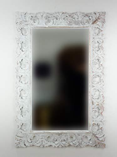 Rococo Espejo Decorativo de Madera Colonial Classic de 120x80 en Blanco decapado