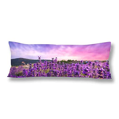 CiCiDi Seitenschläferkissen 50 cm x 150 cm (50 cm x 150 cm) Lavendel aus weicher Baumwolle, waschbar mit Reißverschlüssen Maternity/Schwangerschaft-Kissenbezug