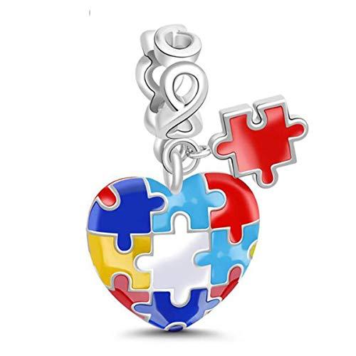 Autisme Bewustzijn Bedel Echt 925 Sterling Zilver Gekleurde Emaille Foto Puzzel Liefde Hartje Bedel Kralen voor Pandora Bedels Vriend Kerstcadeau