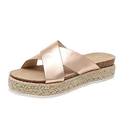 SHE.White Damen Leopard/Einfarbig Plattform Hausschuhe Sommer Flache Unterseite Sandalen Pantoletten Schlappen Glitzer Komfort Sandalen (39, Gold)