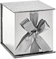"Hallmark Signature 4"" Small Gift Box with Paper Fill (Silver Glitter) for Graduations, Valentines Day, Birthdays,..."