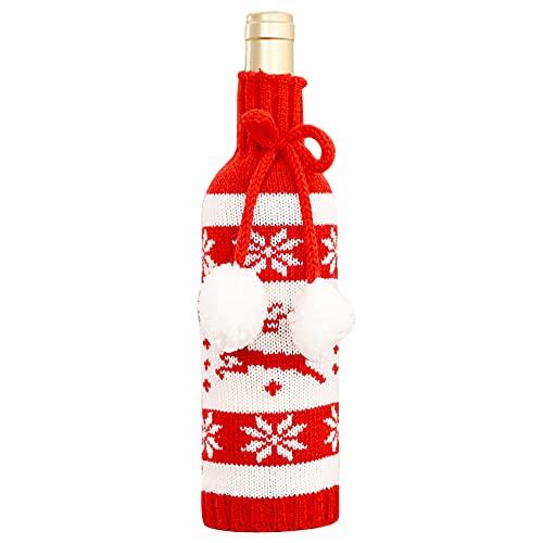 ZHDXW Cubierta de botella de vino de Navidad Decoración de mesa Decoración de Navidad Lindo Navidad Botella de vino cubierta Adornos Navidad Bolsa de botella de punto