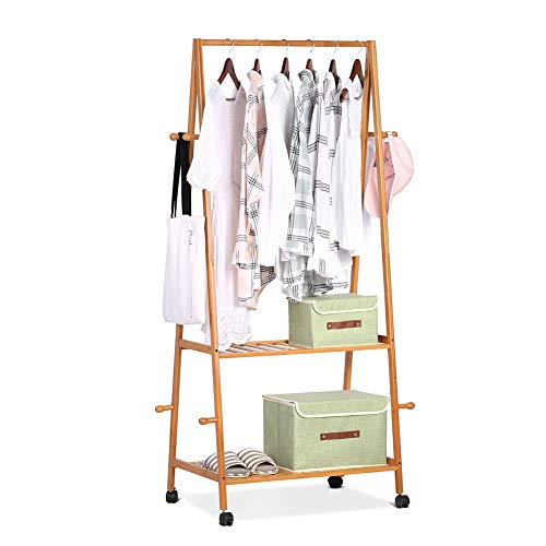 Zerone Free Standing Bamboo Coat Rack Stand, Multifunctional Bamboo Wardrobe Stand Mobile Clothes Storage Rack with 8 Coat Hooks 2-Tier Shoe Clothes Storage Shelves