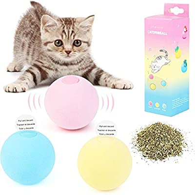 Dorakitten Cat Balls, 3pcs Cat Toys, Cat Ball Toy, Kitten Toys, Cat Toys for Indoor, Interactive Toys For Cats, Gifts for Cats, Replaceable Catnip,Real Animal Calls, Smart trigger
