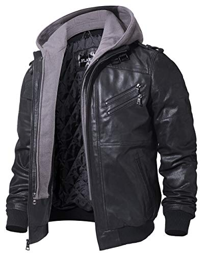 FLAVOR Men's Leather Motorcycle Jacket with Removable Hood Brown Pigskin (XX-Large (US Standard), Black+Gray)