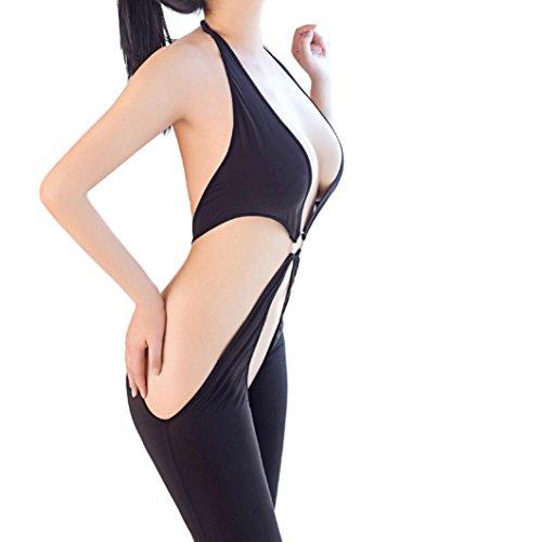 MCYs Damen Lingerie Bodystockings Bodys mit offenem Schritt aus Mesh Hohe elastische overall Dessous Negligee Overalls Nachtwäsche Lingerie...