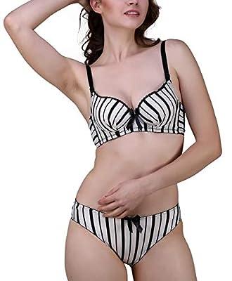 Glus Black Stripes Wired Pushup Seamless T-Shirt Bra & Stainless Bikini Set
