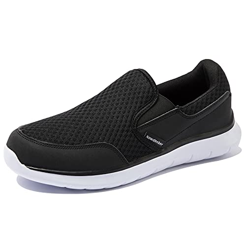 NewDenBer Sportschuhe Slipper Herren Leichtes Freizeitschuhe Slip On Sneaker (43 EU, Schwarz)