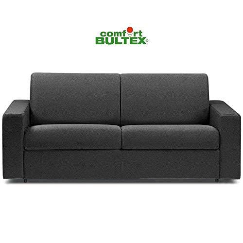 Canapé Convertible rapido CRÉPUSCULE Matelas 120cm Comfort BULTEX® Simili PUgris Graphite